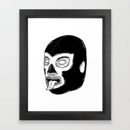 Black Luchador Framed Art Print