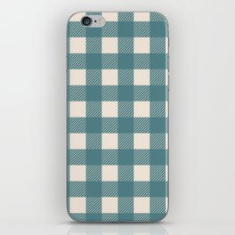 Buffalo Check Plaid in Teal and Cream iPhone Skin