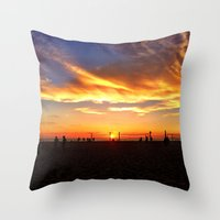 "volleyball Throw Pillows featuring Hermosa Beach ""Volleyball"" by Arturo Garcia"