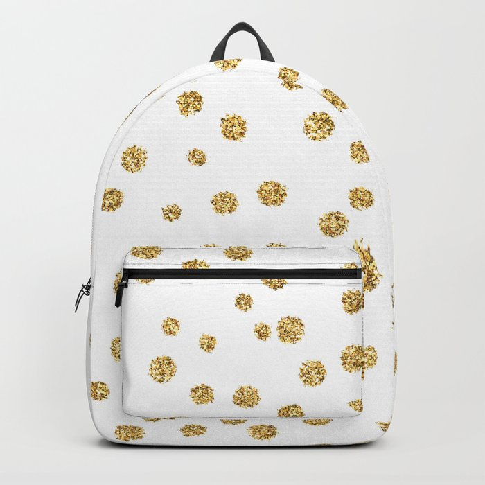 Gold glitter confetti on white - Metal gold dots Backpack