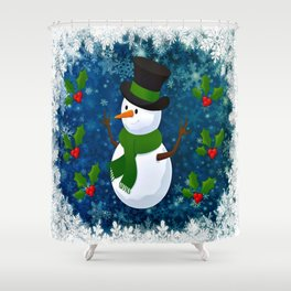 Snowman - Happy Holidays Shower Curtain
