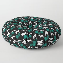 Greyt Greyhound Silhouette with Monstera Leaf on Black Smaller Scale Floor Pillow