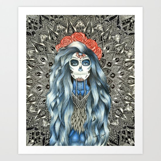 Full Page Day of the Dead Woman Mandala Art Print
