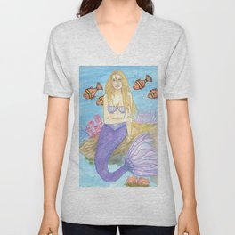 Mermaid Fantasy Art Watercolor Violet Unisex V-Neck