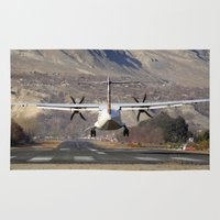 aviation Area & Throw Rugs featuring ATR ATR-42-500 Aviation Scenic Dangerous No way out Landing aircraft by Aviator