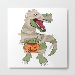 Halloween T-Rex Dinosaur Dino Pumpkin Mummy Metal Print