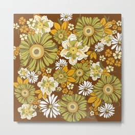 70s Retro Flower Power boho pattern Metal Print