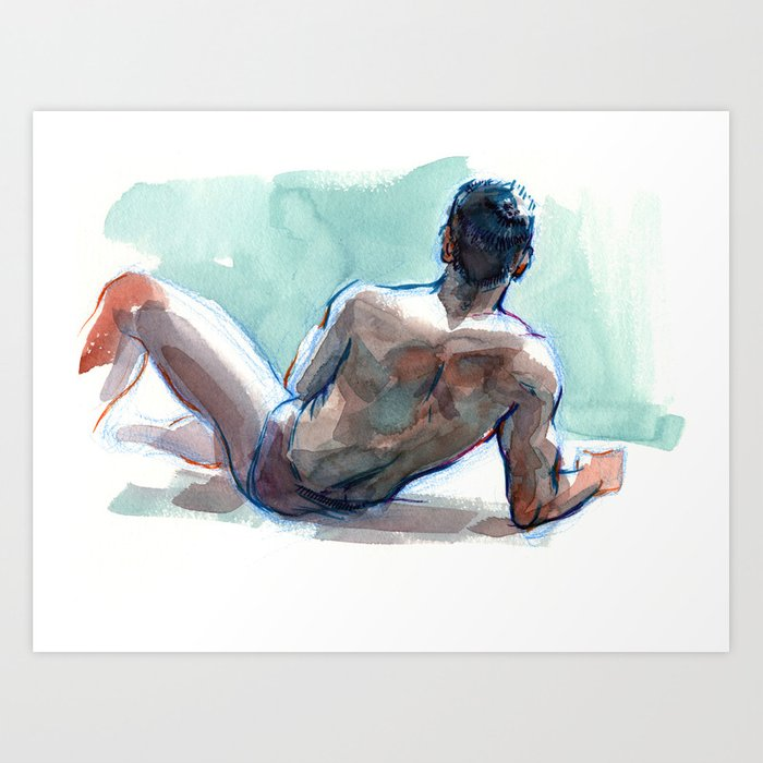 Study Of A Male Nude, Reclining Painting By Felix Felbermayer