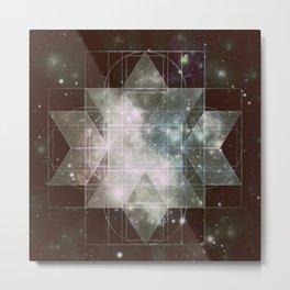 Galaxy Sacred Geometry: Dark Rhombic Hexecontahedron Metal Print