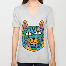 Mischief the Trippy Cat Unisex V-Neck