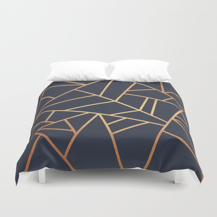 Copper And Midnight Navy Duvet Cover By