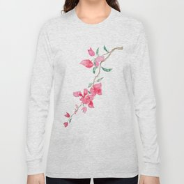 red  pink  bougainvillea watercolor Long Sleeve T-shirt
