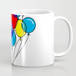 A Bouquet of Multi-Colored Balloons tied in a Bow Coffee Mug