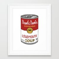 dumb and dumber Framed Art Prints featuring Loudmouth Soup - Dumb and Dumber by Panda McFan