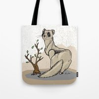 ferret Tote Bags featuring Ferret by Madmi