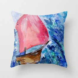 Little Boat Fighting the Storm Throw Pillow