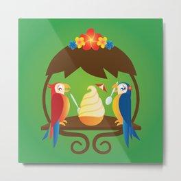 Tiki Birds Ice Cream Date Metal Print
