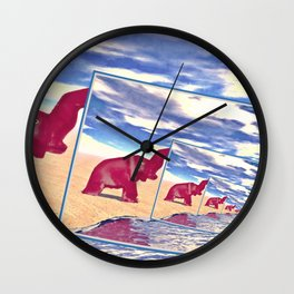 Elephant Finds Water Wall Clock