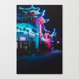 Neon Building Canvas Print