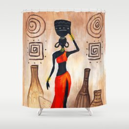 African red Shower Curtain