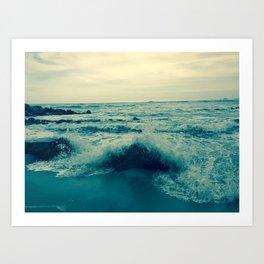 Waves crashing against rocks   Beach Art Print