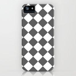 Large Diamonds - White and Dark Gray iPhone Case