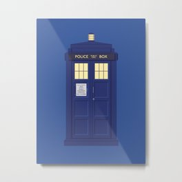 Police Box Phone Booth - Blue Metal Print