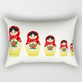 Red russian matryoshka nesting dolls Rectangular Pillow