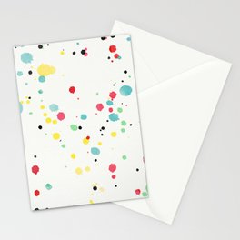 Watercolor splatters on white leather Stationery Cards