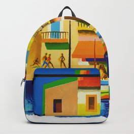 Vintage French Riviera Travel Ad Backpack