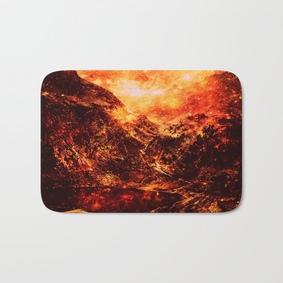 Fiery galaxy Mountains Bath Mat