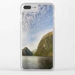 Sunglow over interesting Mountain Range at Doubtful Sound Clear iPhone Case