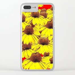 DECORATIVE YELLOW CONE FLORALS RED ART Clear iPhone Case