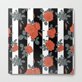 Orange roses on a striped background. Metal Print