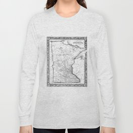 Vintage Map of Minnesota (1864) BW Long Sleeve T-shirt