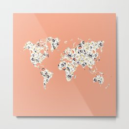 Floral world map Metal Print