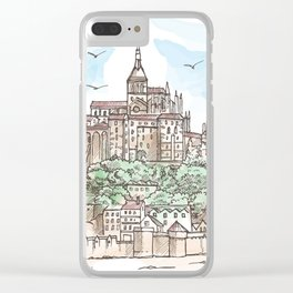 Le Mont Saint Michel ,Normandy, France. Hand drawn sketch Clear iPhone Case