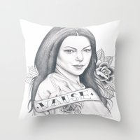 alex vause Throw Pillows featuring Alex Vause by Melina Espinoza