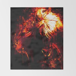 horse wild mane watercolor splatters intensive red Throw Blanket