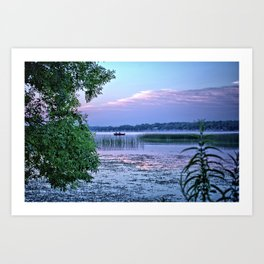 Fishing The Reed Banks Art Print