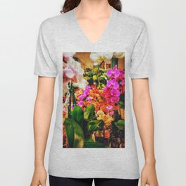 Orchids in the Market Unisex V-Neck