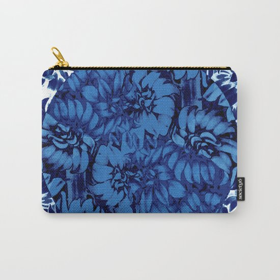blue floral circle on blue floral Carry-All Pouch