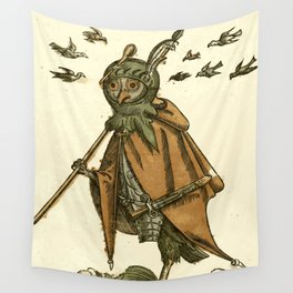 Owl dressed as a soldier Wall Tapestry