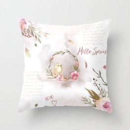 Hello Spring_01 Throw Pillow