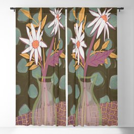 Daisies for You Dark Green Blackout Curtain