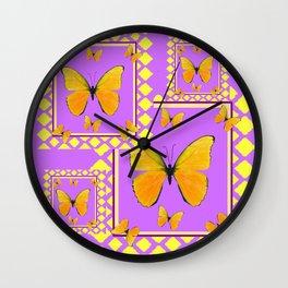MODERN YELLOW BUTTERFLIES LILAC PURPLE PATTERN Wall Clock