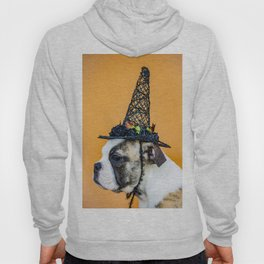 Beautiful Profile of a Bulldog Wearing a Witch Hat for Halloween Hoody