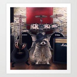 raccoon rock Art Print