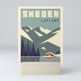 Vintage travel poster-Sweden-Lapland. Mini Art Print