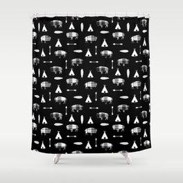 Buffalo Tribe on Black Shower Curtain